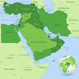 Vector Middle East Green Map. High detail map of the Middle East Zone, with a 3D Globe centered on Middle East Stock Image