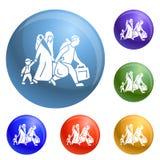 Vector migratorio del sistema de los iconos del hogar del permiso por razones familiares ilustración del vector