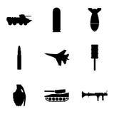 Vector militaire geplaatste pictogrammen Stock Afbeelding