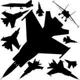 Vector militar 01 de las siluetas de los aeroplanos stock de ilustración