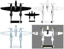 Vector militar del ejemplo de los aeroplanos del propulsor Foto de archivo libre de regalías