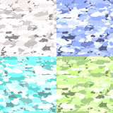 Vector military camouflage patterns set. Hand drawn spots. Can be used for fashion feminine fabric textile design Stock Photography