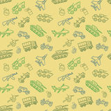 Vector Military seamless pattern with transport and weapon Stock Photo
