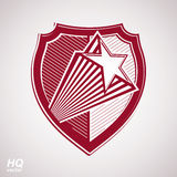 Vector military shield with pentagonal comet star, protection heraldic sheriff blazon. Royalty Free Stock Image