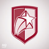 Vector military shield with pentagonal comet star, protection heraldic sheriff blazon. Royalty Free Stock Images