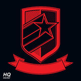 Vector military shield with pentagonal comet star, protection he Royalty Free Stock Images