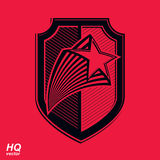Vector military shield with pentagonal comet star, protection he Royalty Free Stock Image