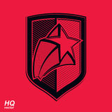 Vector military shield with pentagonal comet star, protection he Royalty Free Stock Photos