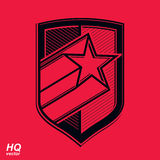 Vector military shield with pentagonal comet star Stock Image
