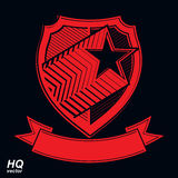 Vector military shield with pentagonal star, heraldry Royalty Free Stock Photo
