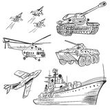 Vector Military Transport Sketch Set Royalty Free Stock Images