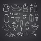 Vector milk or dairy products set hand drawn. And isolated on black chalkboard illustration Royalty Free Stock Photo