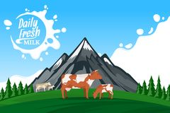 Vector milk illustration with mountain landscape Royalty Free Stock Photos