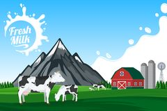 Vector milk illustration with mountain landscape Royalty Free Stock Photo