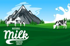 Vector milk illustration with mountain landscape Royalty Free Stock Photography