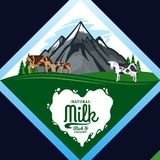 Vector milk illustration with mountain landscape Stock Images