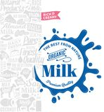 Vector milk logo. Milk, yogurt, cream, cheese icons for grocery, agriculture store, packaging and advertising Royalty Free Stock Photos