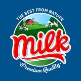 Vector milk logo template. Vector milk logo with cows and farm on blue background Stock Images