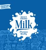 Vector milk logo. Milk, yogurt, cream, cheese icons for grocery, agriculture store, packaging and advertising Stock Images