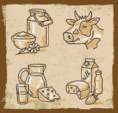 Vector milk products Royalty Free Stock Photography