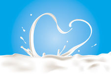 Vector Milk Splash. A splash of milk in heart shape Stock Image