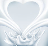 Vector. Milk splash in the form of heart on a gray background Stock Photo
