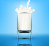 Vector milk splash in glass Stock Photo