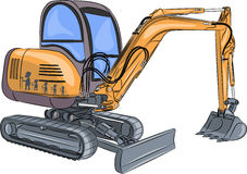 Vector Mini excavator. Stock Image