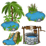 Vector miniature different ponds with classic well Stock Image