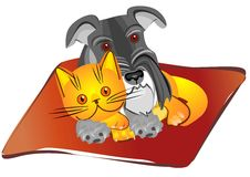 vector miniature Schnauzer dog and british cat Stock Photos