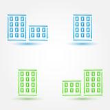 Vector minimal buildings icons - simple house symbol in blue and Royalty Free Stock Photos