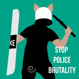 Vector minimal concept for  world day against police brutality Stock Photography