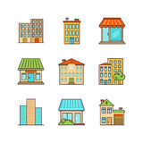 Vector minimal lineart building iconset.  Royalty Free Stock Image