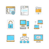 Vector minimal lineart computers and programming iconset.  Stock Photography