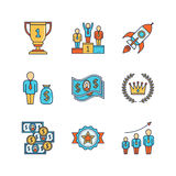 Vector minimal lineart flat business iconset.  Royalty Free Stock Photography