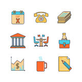 Vector minimal lineart flat business iconset.  Stock Images