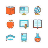 Vector minimal lineart flat education iconset.  Stock Photography