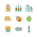 Vector minimal lineart flat food iconset Stock Image