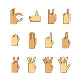 Vector minimal lineart flat hand gestures iconset.  Royalty Free Stock Photo