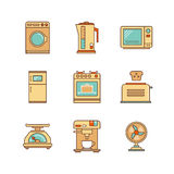 Vector minimal lineart flat household appliances iconset.  Royalty Free Stock Image