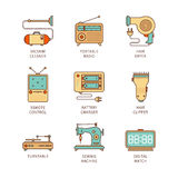 Vector minimal lineart flat household iconset. Vacuum cleaner, portable radio, hair dryer, remote control, battery charger, hair clipper, sewing machine Stock Photo