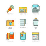 Vector minimal lineart flat journalism iconset.  Royalty Free Stock Photo