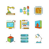 Vector minimal lineart flat technology iconset.  Stock Image