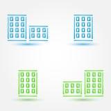 Vector minimale gebouwenpictogrammen - eenvoudig huissymbool in blauw en royalty-vrije illustratie
