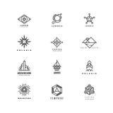 Vector minimale geometrische uitstekende geplaatste etiketten Stock Foto's