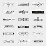 Vector minimale uitstekende embleemmalplaatjes royalty-vrije illustratie