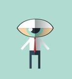 Vector Minimale vlakke ontwerp-zakenman met een groot oog als hoofd Stock Afbeelding