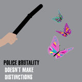 Vector minimales Konzept für internationalen Tag gegen Polizeibrutalität Lizenzfreie Stockbilder