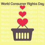 Vector minimales Konzept für Weltverbraucherrechttag Stockfotos