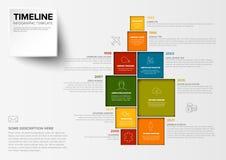 Vector Minimalist colorful timeline template stock illustration
